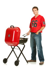 Fans: Guy Grilling for Tailgate Party