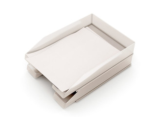 Trays for papers with sheets of paper