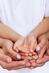 Hands of parents and child