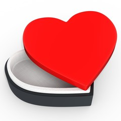 3d box in the shape of heart