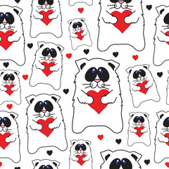 Cats with hearts in hands seamless vector pattern.