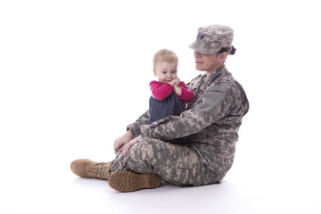 Us military mother with her baby