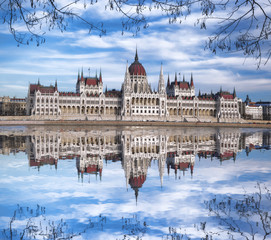 Budapest with parliament against Danube river in Hungary