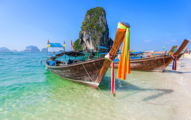 Boats on the beach in Thailand.