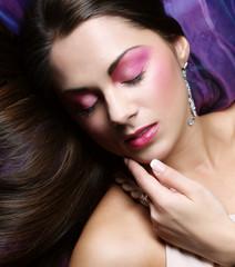 beautiful woman lay on organza. Sleeping beauty.