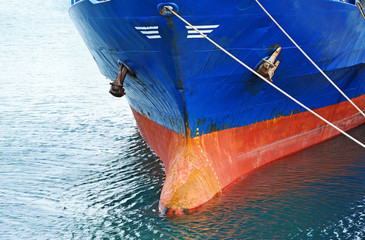 A bow and keel of bulk cargo ship