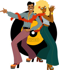 Disco dancers back to back on a record