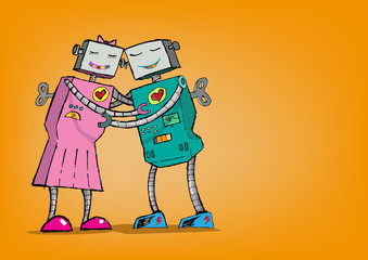 Robot Romance. Android Love Concept.