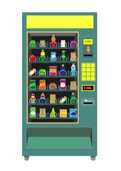 Green Vending Machine vector isoalted on white.