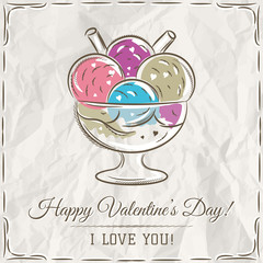 valentine card with  ice cream and wishes text
