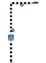 Zebra crossing sign pedestrian cross warning, Belisha Beacons