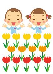 園児とチューリップ