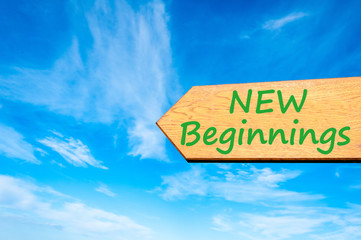 Arrow sign with New Beginnings message