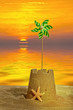 canvas print picture - Sandcastle At Sunset