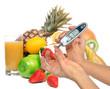 Diabetes diabetic concept. Measuring glucose level blood test - 76451929