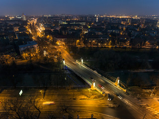 Night cityscape seen from above by a drone