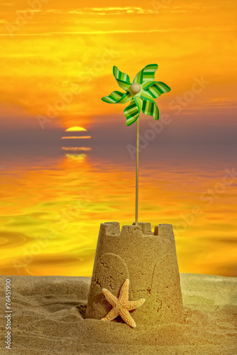 canvas print picture Sandcastle At Sunset