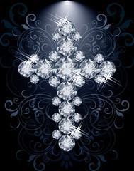 Diamond Christian Cross, vip card, vector illustration