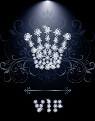 Diamond Queen crown VIP gift card, vector illustration