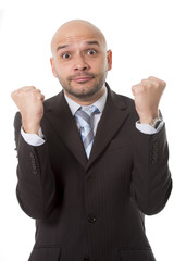 happy businessman  making victory sign with fists