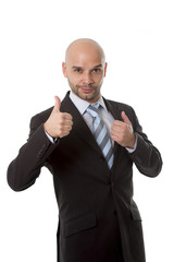 Hispanic businessman giving thumb up success concept