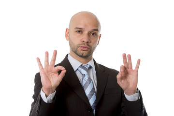 businessman making all right sign in success concept