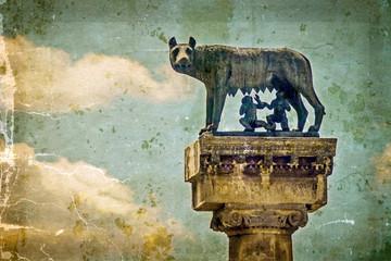 Statue with wolf, Remus and Romulus.Symbols of Timisoara, Romani