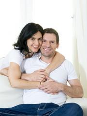 attractive Brazilian couple smiling happy in love concept