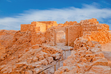 Ruins on Massada at sunset