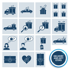 Delivery and gift icons. EPS10.