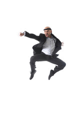 spectacular  businessman jumping in kung fu fist attack