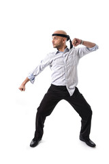 messy businessman in karate attack pose business competition