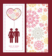 Vector folk floral circles abstract couple in love silhouettes