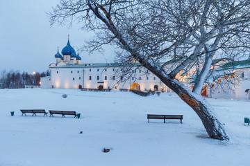 Winter landscape in morning in Suzdal Kremlin