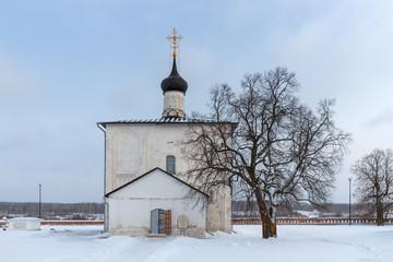 Winter landscape with russian church in village Kideksha