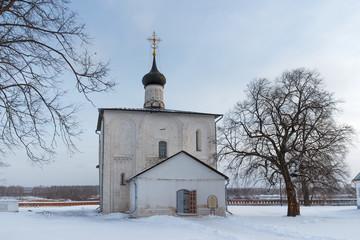 Winter landscape with ancient Russian church in village Kideksha