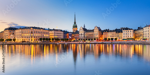 Poster Oude gebouw Gamla Stan at night in Stockholm