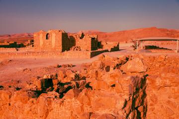 Massada fort after sunset