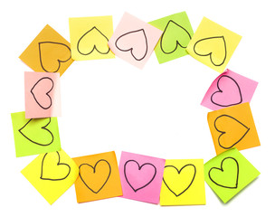 Post-it colorful frame with drawn hearts