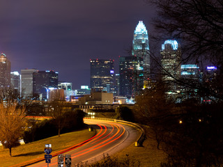 Skyline of Charlotte, NC at night