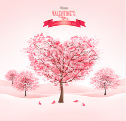 Pink heart-shaped sakura trees. Valentine's day. Vector.