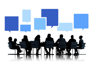 Silhouettes Business People Meeting Speech Bubbles Concept