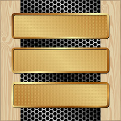 three banners on metal and wooden background