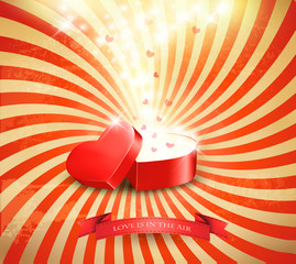 Valentine's day background with an open red gift box. Vector.