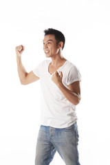 Asian man cheering,happy