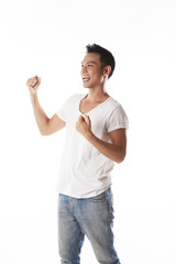 Asian man cheering,happy
