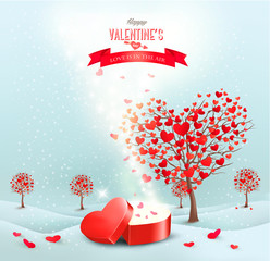 Valentine's day landscape with heart shaped trees and a magic gi