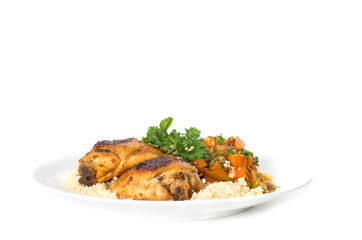 Cous cous Kabylia with chicken and vegetables against white back