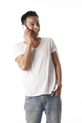 Asian man with mobile phone