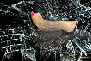 Stylish High Heels and Broken Glass.